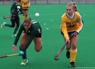 Ohio University freshman Annmarie Hoppel and Kent junior forward Jessica Apelt battle for the ball during a game in Kent on Saturday, Oct. 28, 2017.