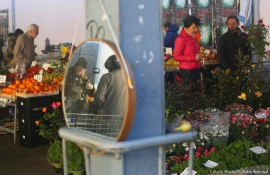 A scene from an outdoor market in Florence, Italy on Wednesday, April 19, 2017.