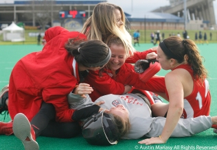 Miami (Ohio) players react after they beat Kent State in the MAC field hockey championship in overtime on Saturday, Nov. 4, 2017.
