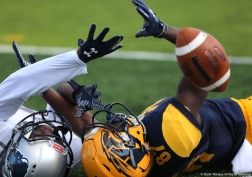 Howard University defensive back Tye Freeland and Kent State wide receiver mike Carrigan battle for the ball on Friday, Sept. 9, 2017.