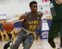 Kent senior guard Kevin Zabo drives to the basket against Ohio University on Friday, Jan. 12, 2017.