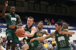 Ohio University sophomore James Gallon recovers a rebound during a game against Kent State on Friday, Jan. 12, 2018