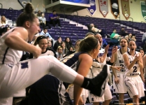 Mount Union junior guard Anna Alkire reacts after a play against John Carroll on Wednesday, Jan. 24, 2018.