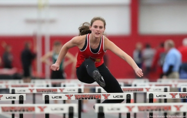 Wheeling Jesuit University freshman Asya Carney competes in the 60m hurdles at Youngstown State University on Friday, Feb. 2, 2018.