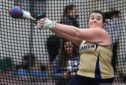 Clarion junior Katie Brest competes in weight throws at Youngstown State University on Friday, Feb. 2, 2018.
