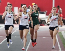 Shippensburg University's Rachel Bruno, Cirsten Kelly and LInsday Sheehan pass Slippery Rock's Hali Olson at Youngstown State University on Saturday, Feb. 3, 2018.