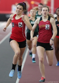 Univeristy of Detroit Mercy senior LIz Mullen pushes to win her heat of the 400 meter race at Youngstown State Universiyt on Saturday, Feb. 3, 2018.