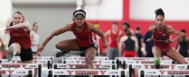 Detroit Mercy sophomore Kyri Jackson competes in the 60 meter hurdles on Saturday, Feb. 3, 2018.