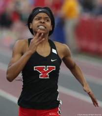 Youngstown State University sophomore Jaliyah Elliot finishes her 60 meter dash on Saturday, Feb. 3, 2018.