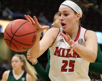 Miami University senior forward Molly McDonagh attempts to recover a loose ball against Ohio University during the Mid-American Conference quarterfinal game in Cleveland, Ohio.