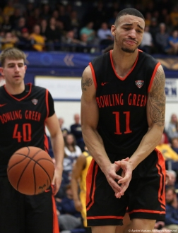 Bowling Green junior guard Antwon Lillard reacts to a foul he committed in the game at Kent State University on Saturday, Feb. 24, 2018.