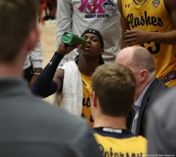 Kent junior guard Jaylin Walker takes a drink of water during a timeout in the game against Bowling Green.