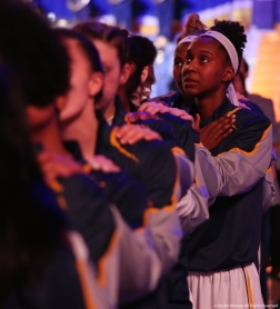 The Kent State University Woman's Basketball Team stands during the National Anthem before its loss to Buffalo.