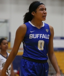 Buffalo sophomore forward Summer Hemphill scowls at a call during the game at Kent State.