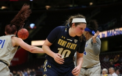 Kent graduate student forward McKenna Stephens reacts after missing a rebound against the University at Buffalo in the Mid-American Conference quarterfinal game in Cleveland, Ohio.