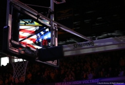 The American flag reflected in the backboard before the Kent State/Akron basketball game.