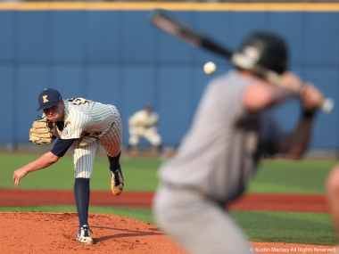 Kent pitcher Connor Wollersheim delivers a pitch against Northern Illinois University on Friday, April 13, 2018.