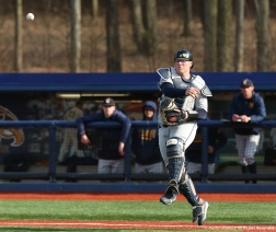 Canisius College's redshirt senior Christ Conley throws to third during the game against Kent State on Wednesday, April 11, 2018.