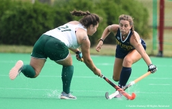 Ohio University's sophomore defender Leah Warren and Kent State's freshman midfielder Helena Cambra battle for the ball during an exhibition match at Kent State University.
