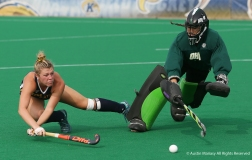 Kent State's senior forward Courtney Weise and Ohio University junior goal keeper Sophia Boothby both fall during a shoot out at the end of the exhibition match at Kent State University on Sunday, Aug. 19, 2018.