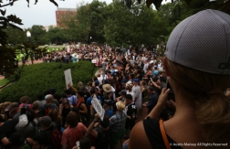 Half of Lafayette Square during the Unite the Right Rally 2 on Sunday, Aug. 12, 2018. Capital Police slip the square in half allowing the white supremacists to have their rally roughly 100 yards away from the counter rally. The counter rally spilled onto the streets behind the square while the white supremacists could barely be seen through the trees.