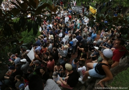 Thousands of counter protesters demonstrate against the roughly 30 white supremacists gathered in Lafayette Square in Washington D.C. for the Unite the Right Rally 2