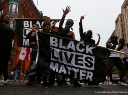 Black Live Matter protesters make their voice heared in the street after the Unite the Right Rally 2 in Washington D.C. on Sunday, Aug. 12, 2018.
