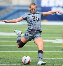 St. Bonaventure senior defender Kylie Terwilliger kicks the ball during a match at Kent State University on Sunday, Aug. 19, 2018.