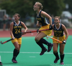 Kent State's junior forward Laila Richter celebrates after scoring a go ahead goal against Michigan State.