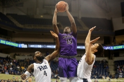 Niagara University's sophomore forward Greg Kuakumensah goes up for a shot against the University of Pittsburgh.