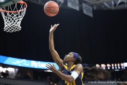 East Tennessee State's sophomnore guard Erica Haynes-Overton goes in for a layup during the game at Michigan State University on Nov. 11, 2018.