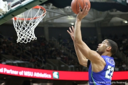 Florida Gulf CoastÕs redshirt senior guard Haanif Cheatham goes for a layup during the game at Michigan State University on Sunday, Nov. 11, 2018.