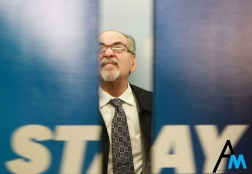 David Horowitz, conservative writer and founder of the Freedom Center waits for the elevator doors to close in the Kent State University Student Center on Oct. 24, 2017. Horowitz has been described as the Richard Spencer of the Israel vs Palestine conflict.