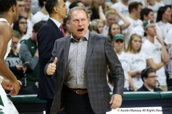 Michigan State's Head Coach Tom Izzo yells during the team's home opener at the Breslin Center in East Lansing Michigan on Sunday, Nov. 11, 2018. The Spartans defeated Florida Gulf Coast 106-87.