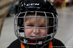 Colton Cerni shows off his best game face while waiting for to walk out onto the ice with the Youngstown Phantoms before their game against the Madison Capitals on Nov. 24, 2018.