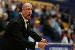 Slippery Rock University Head Women's Basketball Coach yells directions to his players during an exhibition game at Kent State University on Sundayl Nov. 4, 2018.