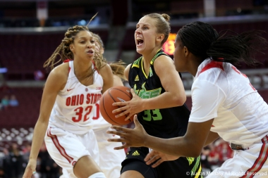 University of South Florida senior wing Kitija Laksa drives to the basket against Ohio StateÕs freshman forward Aaliyah Patty during the season opener at Ohio State University on Tuesday, Nov. 7, 2018.