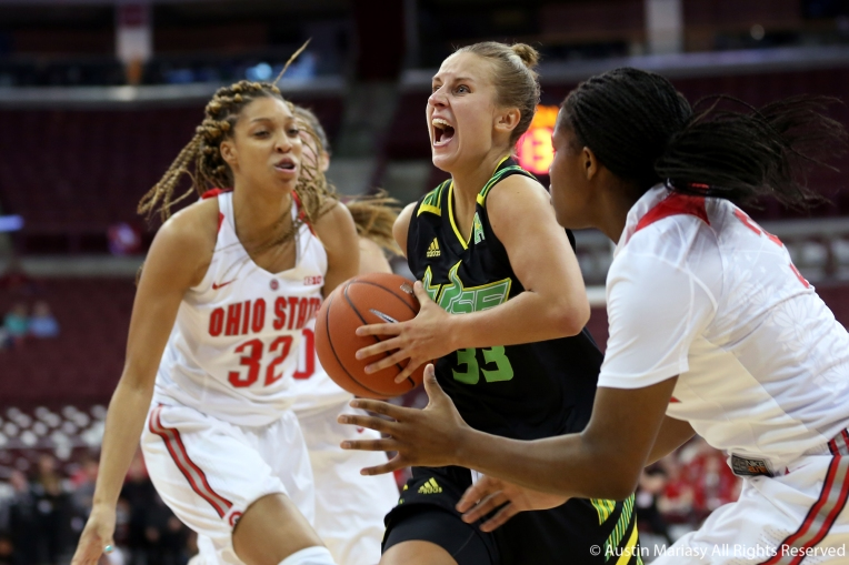 University of South Florida senior wing Kitija Laksa drives to the basket against Ohio StateÕs freshman forward Aaliyah Patty during the season opener at Ohio State University on Tuesday, Nov. 7, 2018.
