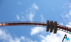 Valravn soars through the sky at Cedar Point in Sandusky, Ohio. When it opened in 2016, Valravn was, and still is, the world's tallest, fastest and longest dive coaster. Dive coasters are a model of coaster that stops riders at the top of the first 90 degree drop for a number of seconds, making the people in the front row dangle hundreds of feet in the air.