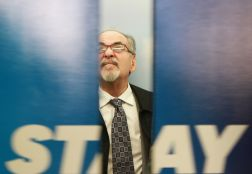 David Horowitz, conservative writer and founder of the Freedom Center waits for the elevator doors to close in the Kent State University Student Center on Oct. 24, 2017.