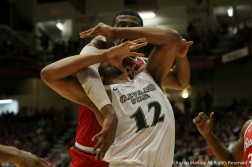 Cleveland State sophomore Algevon Eichelberger is fouled hard during the game at Ohio State University on Nov. 23, 2018.