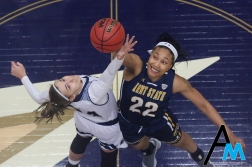 Kent State University's senior center Merissa Barber-Smith and the University of Akron's junior forward Caitlin Vari go up for the opening tip off of the rivalry game at the University of Akron on March. 6, 2019. Kent State won the game in overtime and swept the regular season series.