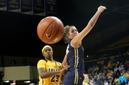 Kent State's freshman forward Lindsey Thall and University of Toledo's sophomore forward Tanata Beacham both watch as the ball flies out of bounds during a game at the University of Toledo on Jan. 12, 2019.
