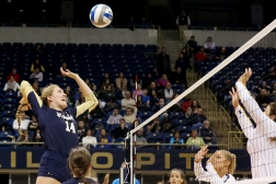 Navy's senior middle blocker Katie Patrick attempts a kill during the first round of the NCAA tournament against the University of Michigan on Friday. Nov. 30, 2018.