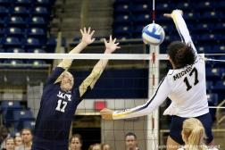 Navy's senior outside hitter Kelsey Kingsland attempts a block during the first round of the NCAA Tournament against the University of Michigan in Pittsburgh Pennsylvania on Friday, Nov. 30, 2018.