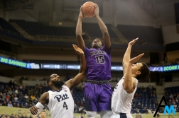Niagara University's sophomore forward Greg Kuakumensah goes up for a shot against the University of Pittsburgh. The Purple eagles upset the Panthers 71-70 in to snap a three-game losing streak.