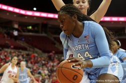 University of North Carolina's sophomore Center Janelle Bailey drives to the basket during the game at Ohio State University on Nov. 29, 2018.