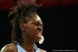 University of North Carolina's junior guard Shayla Bennett grimaces after a hard hit knocked her to the floor during the game at Ohio State University on Nov. 29, 2018.