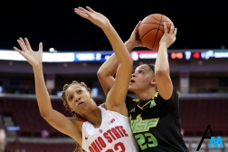 University of South Florida junior post Tamara Henshaw attempts to shoot through Ohio State's freshman forward Aaliyah Patty during the season opener at Ohio State on Tuesday, Nov. 7, 2018. Ohio State lost 47-71 in a decisive loss to start the season.