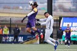 West Chester University's sophomore forward Doug Goitia head the ball during the NCAA Division 2 Semi Final game against Cal Poly Ponoma on Thursday, Nov. 29, 2018.